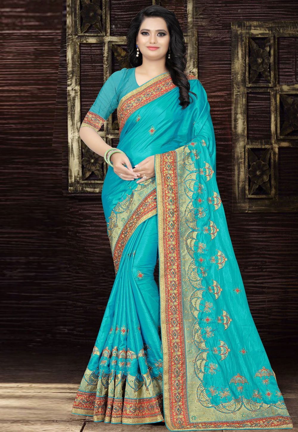458216fc322f4 Buy Aqua Silk Embroidered Saree With Blouse 165260 with blouse online at  lowest price from vast