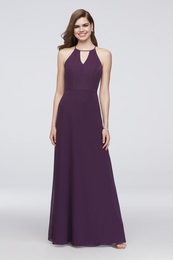 0f1474bee7f4 Chiffon Keyhole Bridesmaid Dress with Cutaway Back Style W60000, Eggplant,  14