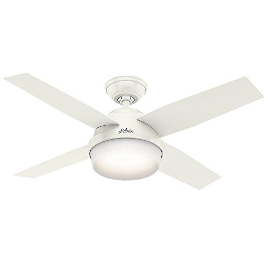 Hunter 59246 Contemporary Dempsey Fresh White Ceiling Fan With Light Remote 44 Dual Ceiling Fan Ceil Ceiling Fan With Light Fan Light White Ceiling Fan