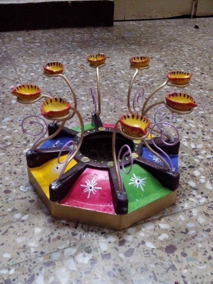 Diya stand made from thermocol and hanger wire Diwali