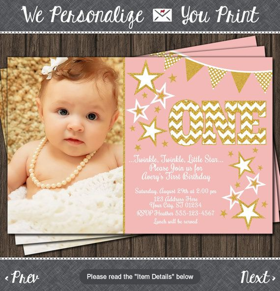 Twinkle Twinkle Little Star Birthday Invitation Pink and Gold – Costco Birthday Invitations