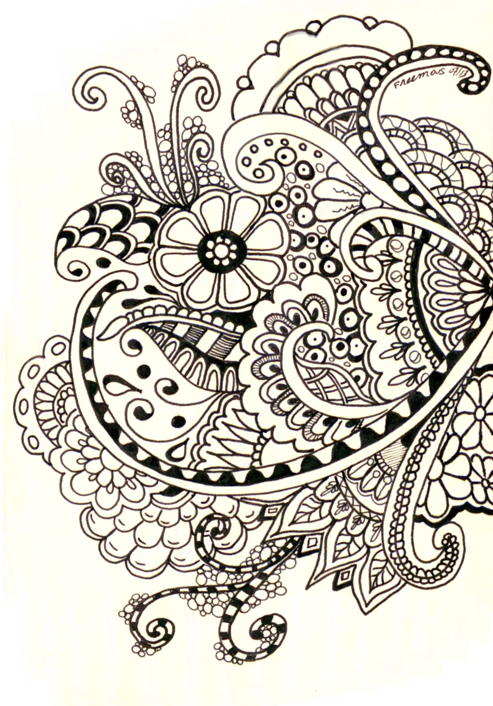 Mehndi Flower Chadar : Zentangle henna designs h basics practise on paper