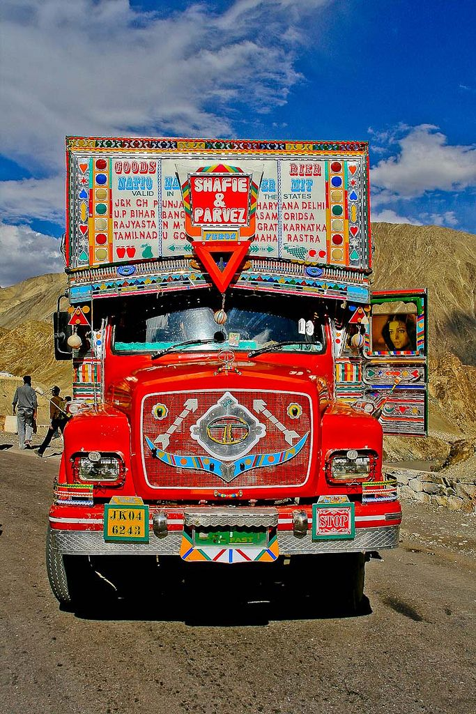 Colorful Indian Trucks Near The Kashmer North India Truck Art