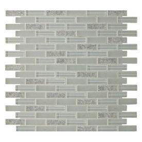 Gbi Tile Stone Inc Gemstone White Glass Mosaic Subway Wall Tile Common Lowes Backsplashkitchen