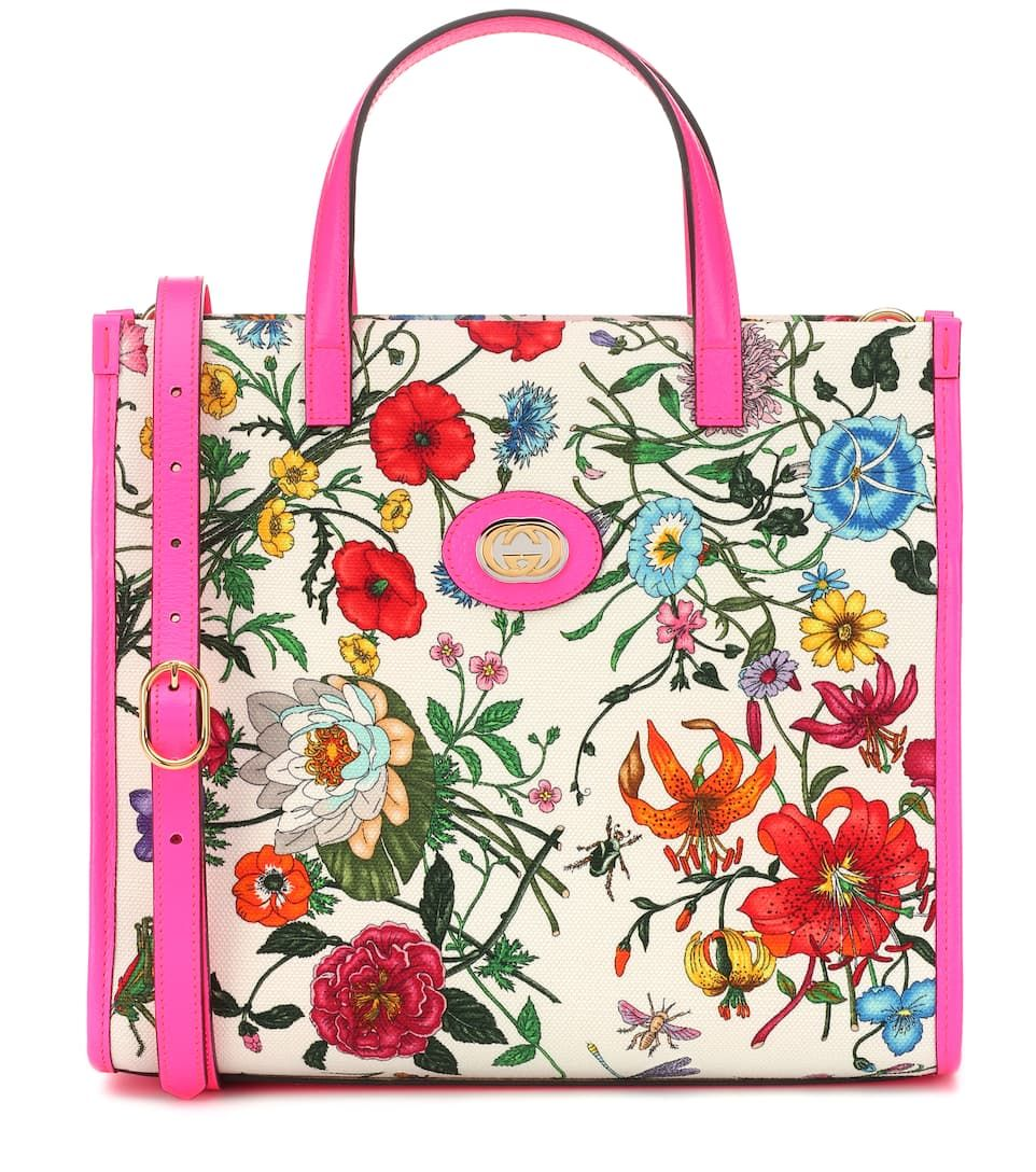 e27664185c3a Flora Medium tote canvas leather-trimmed Gucci white fluorescent pink floral -printed #canvas, #leather, #trimmed