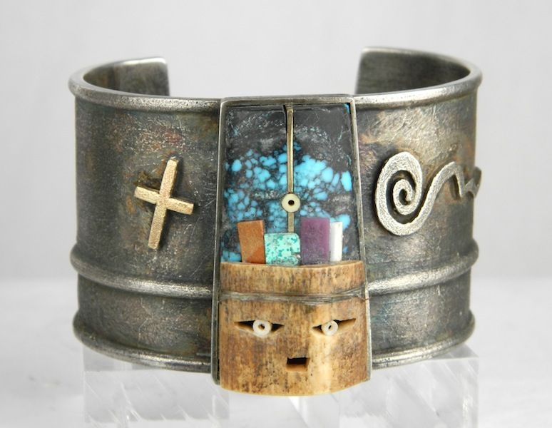 Cuff | Raymond Sequaptewa.  'Star Journey'.  Sterling silver inlay of Fossilized Walrus Ivory, Sugilite, Red & Pink Coral, High Grade Chinese Turquoise, 14K Gold