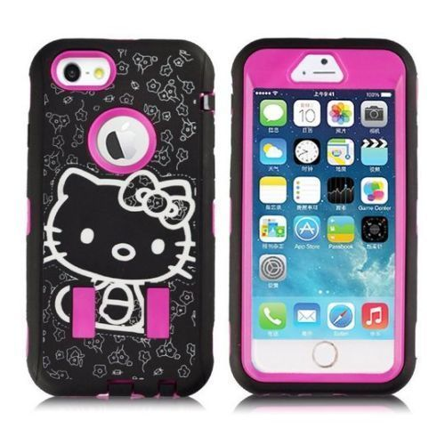 Pink Black Hello Kitty Case for Apple iPhone 6 Plus Cute Strong Shockproof Cover #UnbrandedGeneric