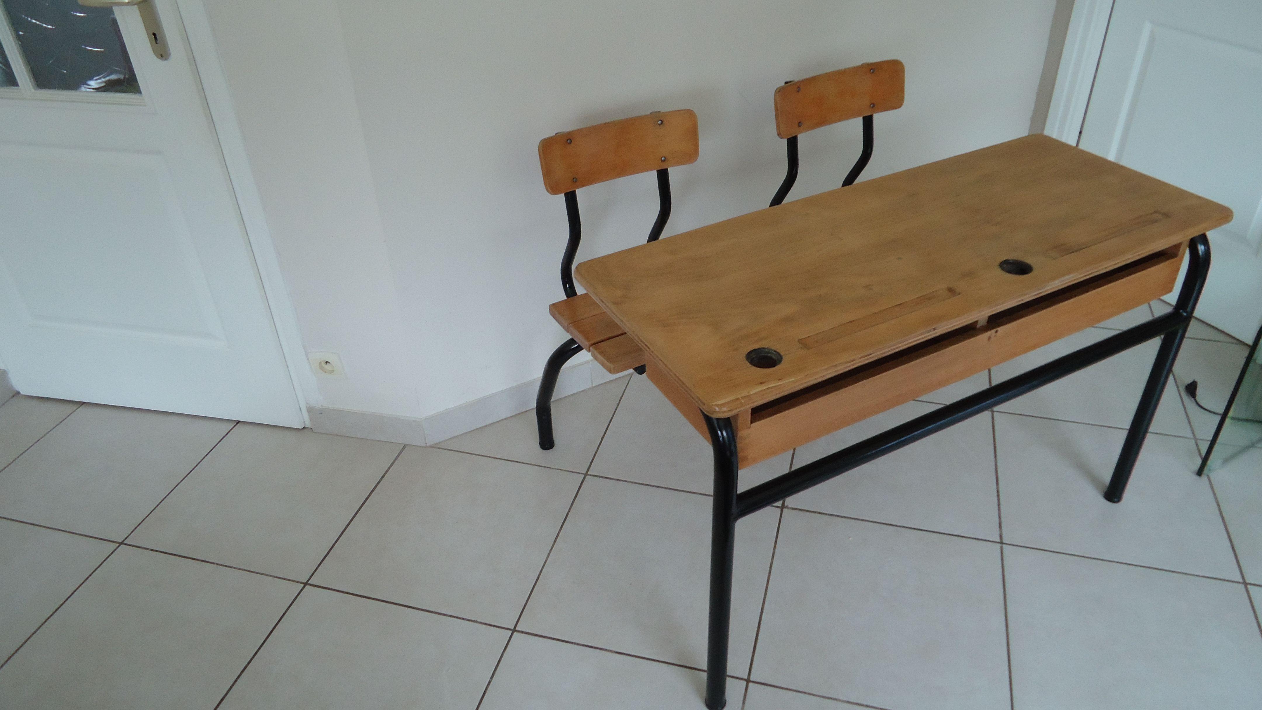 Bureau écolier relooké noir et bois naturel vernis nouveautés