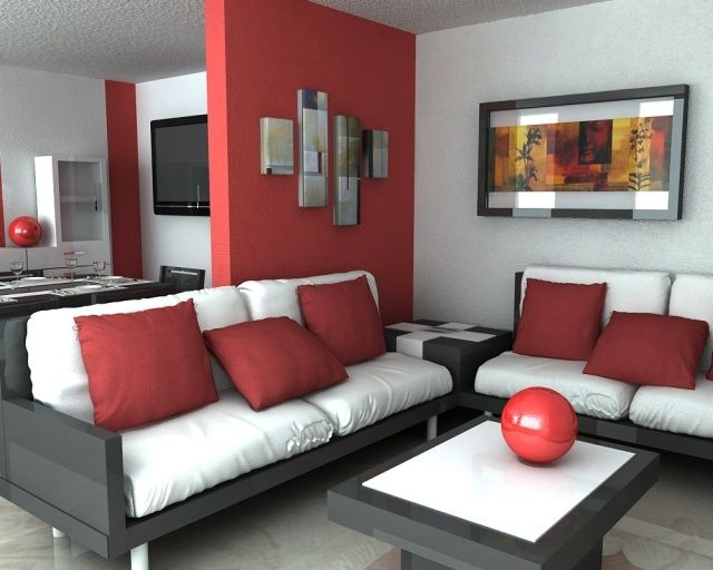 Idée déco salon en rouge - 30 photos sympas embellir espace Hogar - deco salon rouge et blanc