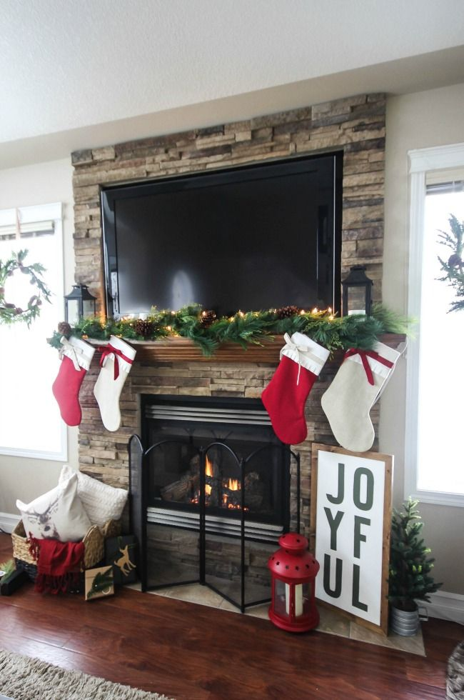 Cozy rustic christmas mantel fireplace mantels