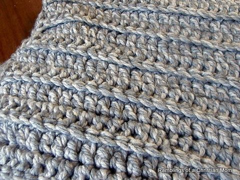 Two Strands Chunky Yarn Double Crochet Back Loops Only Im