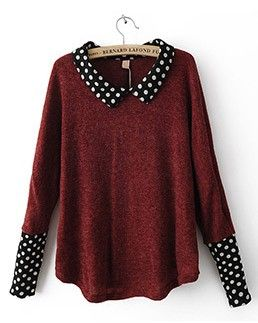 Red polka dot long sleeve pullover