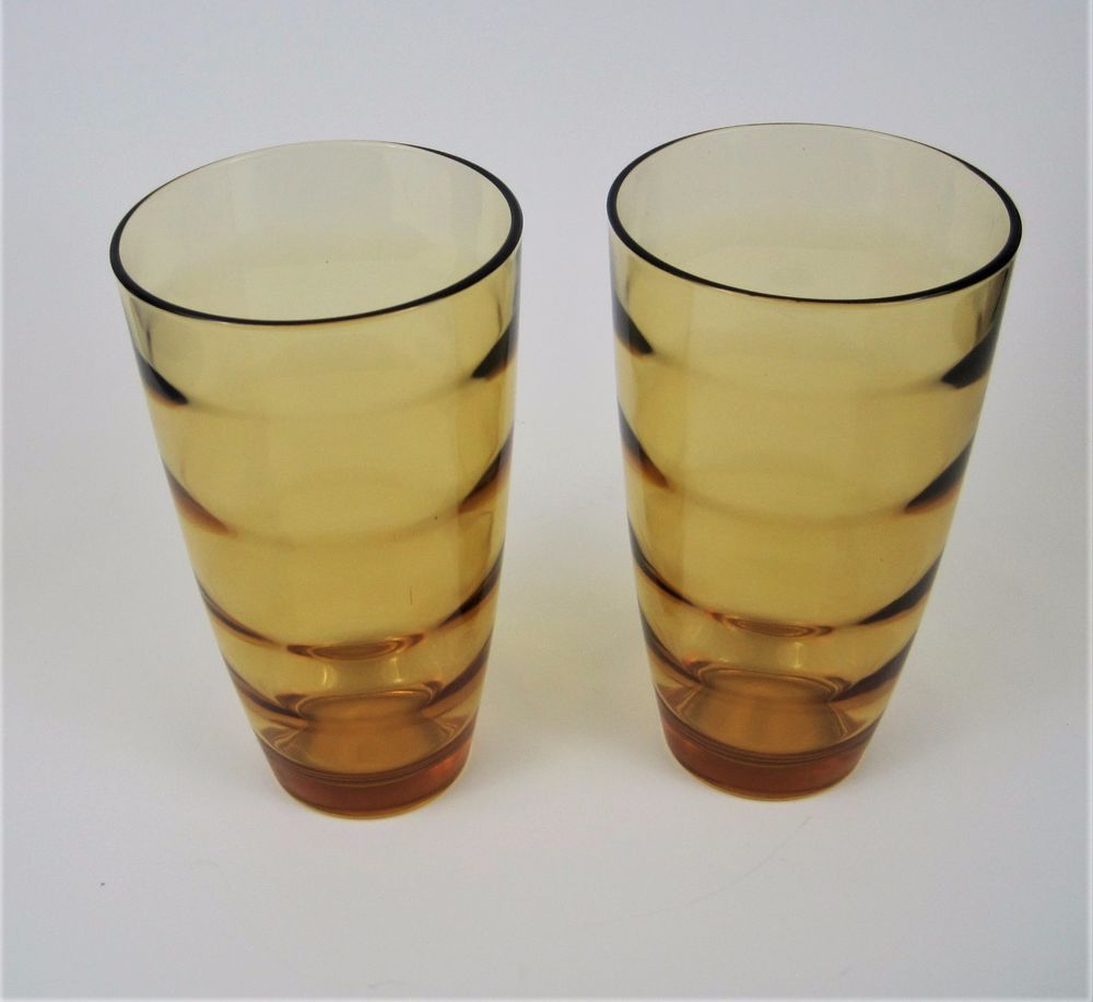 Vtg Amber Glass Tumblers Large 20 Oz Drinking Glasses Ripple Wavy Ccc Lot Of 2 Amber Glass Glass Tumbler Drinking Glasses