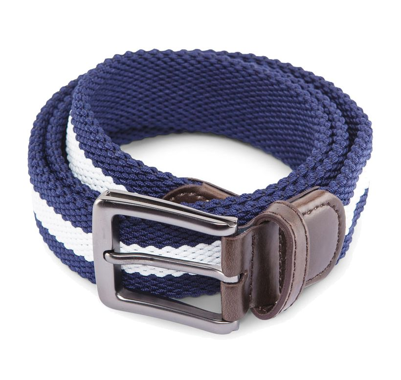 Men's 3 Tone Stretchable Belt by ZALORA.  Made from stretch table fabric, with blue navy combination with white color, with pin buckle fastening, adjustable length, this unique piece will match your outfit perfectly. http://zocko.it/LDWoK