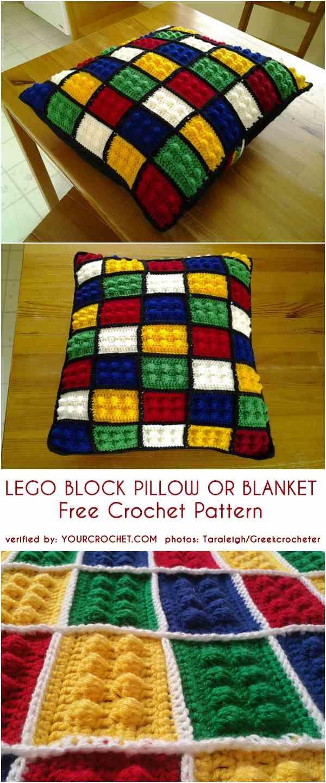 Lego Block Pillow Or Blanket Free Crochet Pattern Stricken