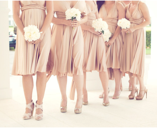 What Color Heels w/ Champagne Bridesmaid Dress for Our Classy ...