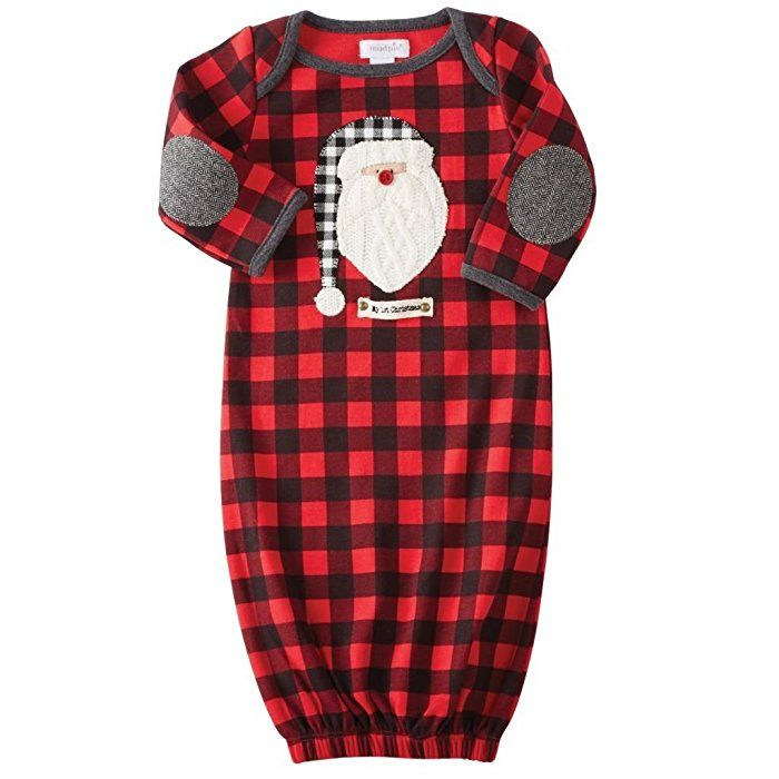 4be0faecd1e63 Amazon.com  Mud Pie Baby Boy s Buffalo Check Santa Sleep Gown (Infant) Red 0 -3 Months  Clothing