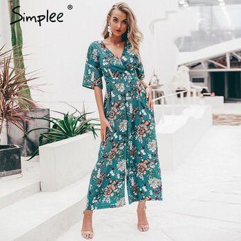 Photo of Simplee Vintage v-hals blomsterprint dame jumpsuit Elegant korte ermer sjerper jumpsuit Høyt midje sommer playuit jumpsuit lang | www.minogdin.com