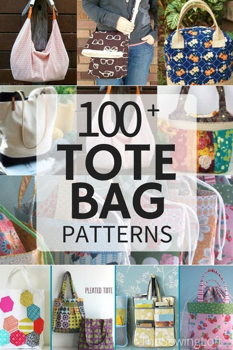 100+ Free Tote Bag Patterns #sewingprojects