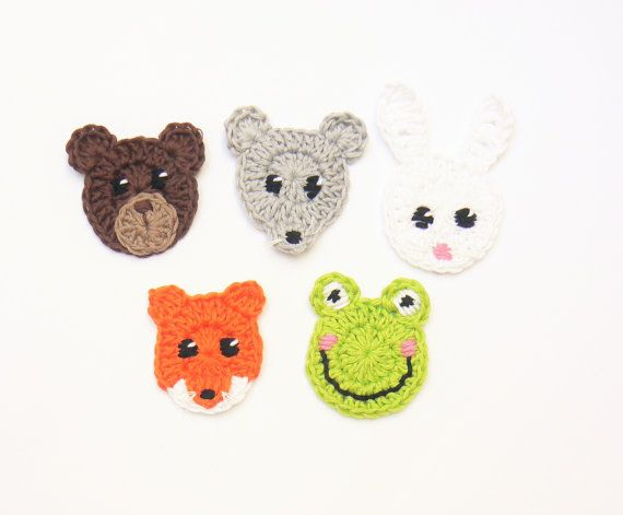 Crochet animals cotton appliques woodland animals crochet