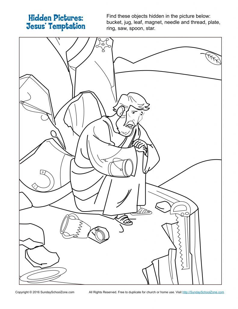 Jesus Temptation Hidden Pictures Childrens Bible Activities Free Coloring Pages