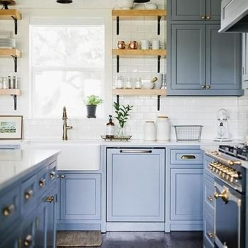 Blue Kitchen Cabinets with Black French Stove   Budget ...
