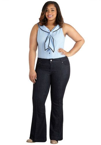 Inherit Good Jeans in Plus Size - Good, Low-Rise, Dark Wash, Full length, Blue, Flare / Bell Bottom, Denim, Woven, Blue, Solid, Pockets