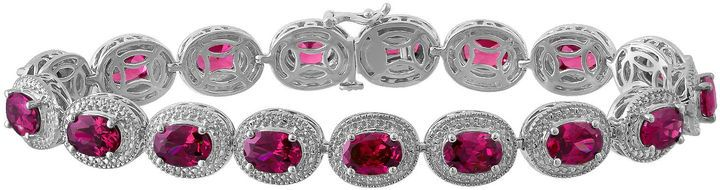Fine Jewelry Lab-Created Ruby with Diamond Accents Sterling Silver Milgrain Link Bracelet fwdED