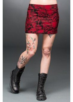 Skulls Bodycon Mini Skirt