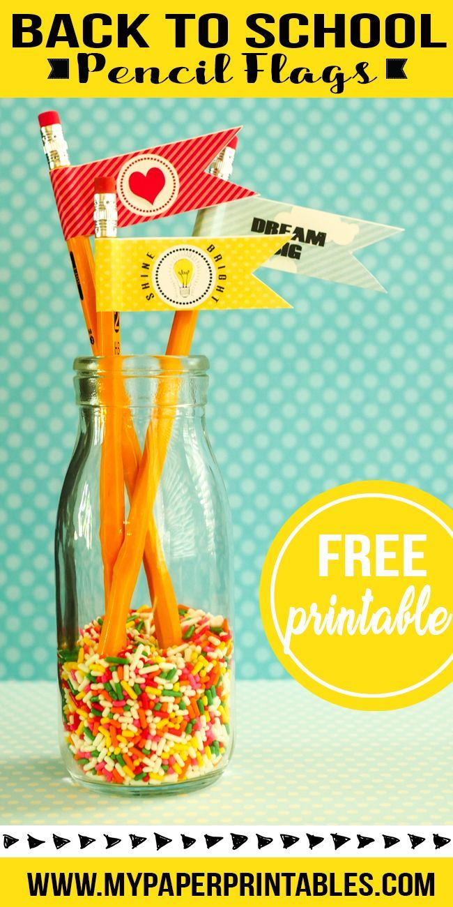 how cute is this! This would be a great way to add a little extra fun to back to school pencils. The free pencil flag printable project was quick and easy for back to school gift for teachers or students   mypaperprintables.com