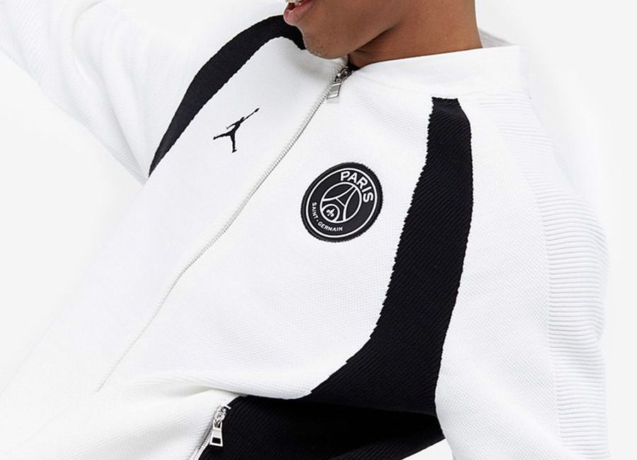 fc11933effb Paris Saint-Germain 2019 Full Zip Knitted Flight Jacket - White / Black #psg  #ParisSaintGermain #TeamPSG #AllezParis