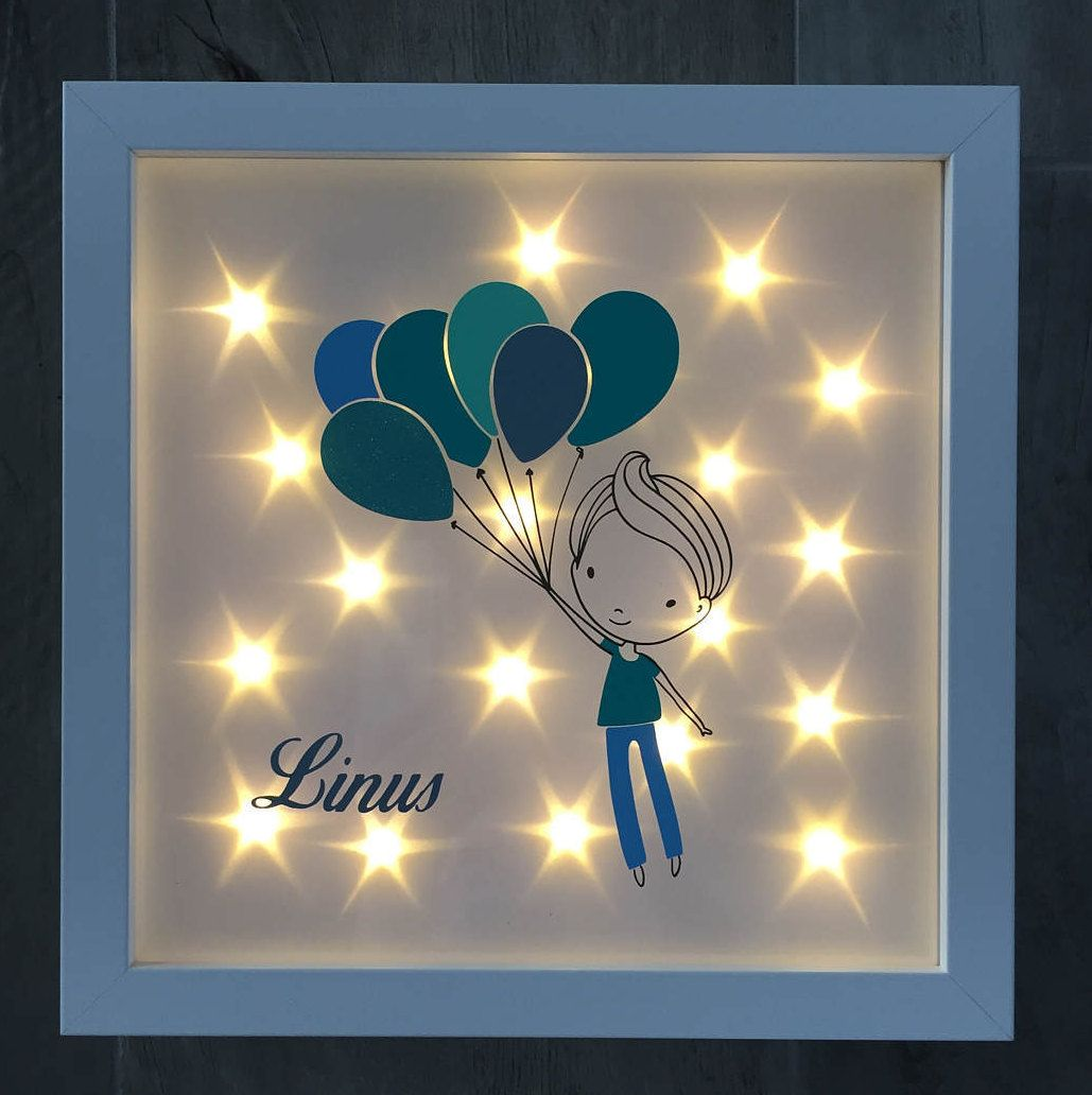Illuminated picture frame with Luftballonjungen and name, night ...