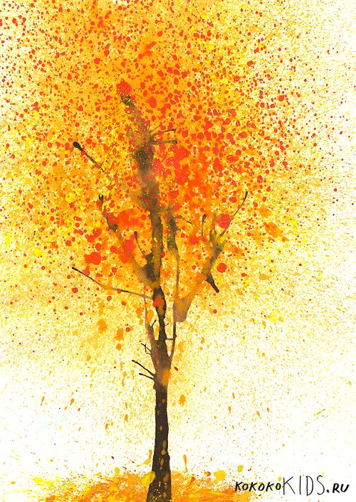 Info's : kokokoKIDS: Fall Art: blow wet paint with a straw for tree trunk/branches, and splatter paint with a toothbrush for leaves