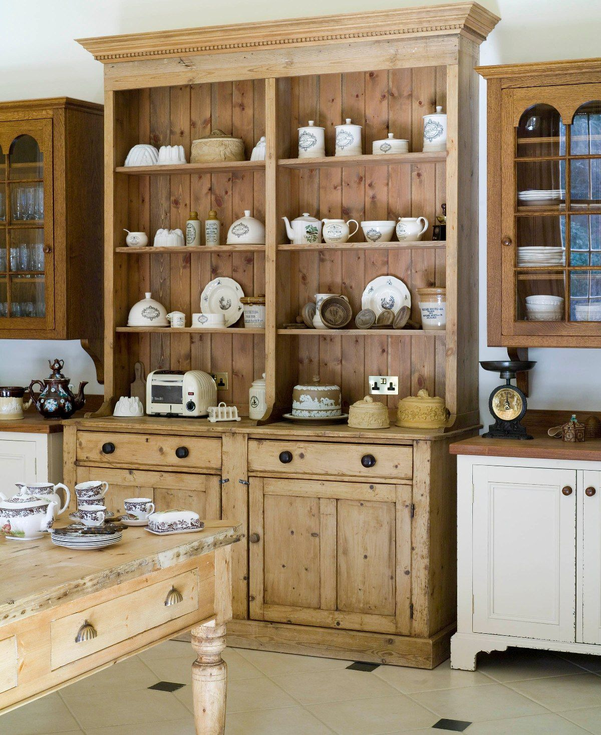 Pine Kitchen Cabinet: Natural Pine Cupboard In The Kitchen