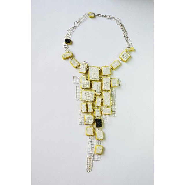 Necklace by Titi Berio from Colombia  - Silver, sponge, resin, acrylic paint, reflective microspheres.