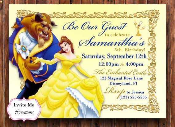 Beauty And The Beast Invitation Disney Belle Princess Olivia 5th