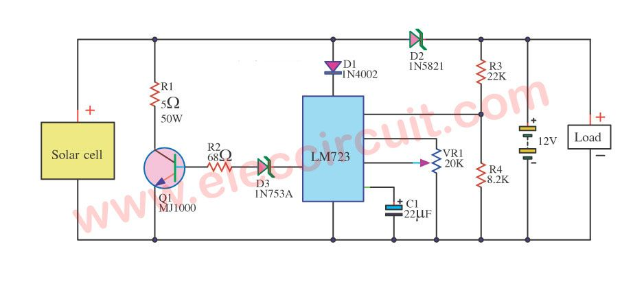 Solar Battery Charger With Overcharge Protection Eleccircuit Com Solar Battery Solar Battery Charger Solar Charger