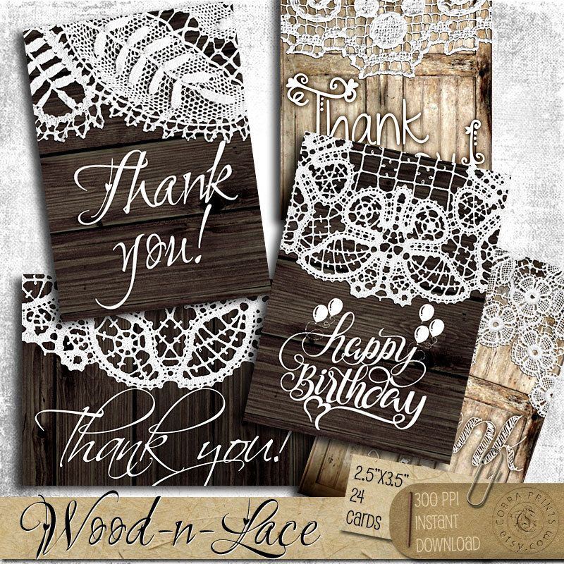 free printable wedding thank you cards with photo%0A Wood and Lace Thank You Cards  Printable Digital Collage Sheet digital  downloads ATC Jewelry Holders Gift Tags Wedding Favor Tags CP   a  Journaling