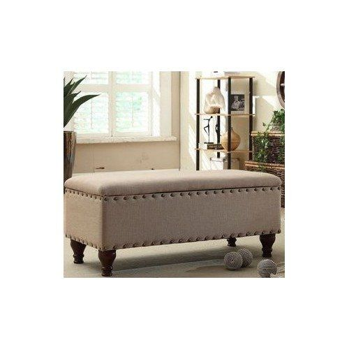 STYLISH Upholstered Nailhead Storage Bench in a Contempor... https ...