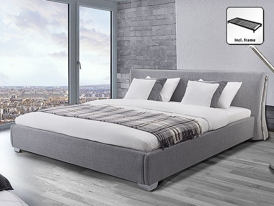 Fabric Eu Super King Size Bed Grey Paris Super King Size Bed