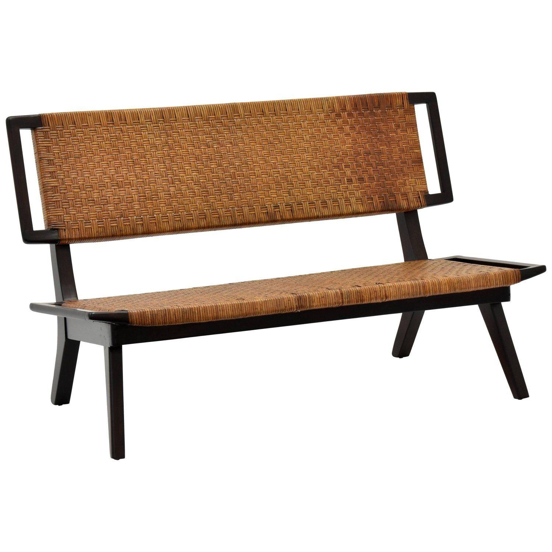 Paul Laszlo Style Settee Bench Woven Rattan Dark Wood California 1950s Style Settee Wood Settee Settee