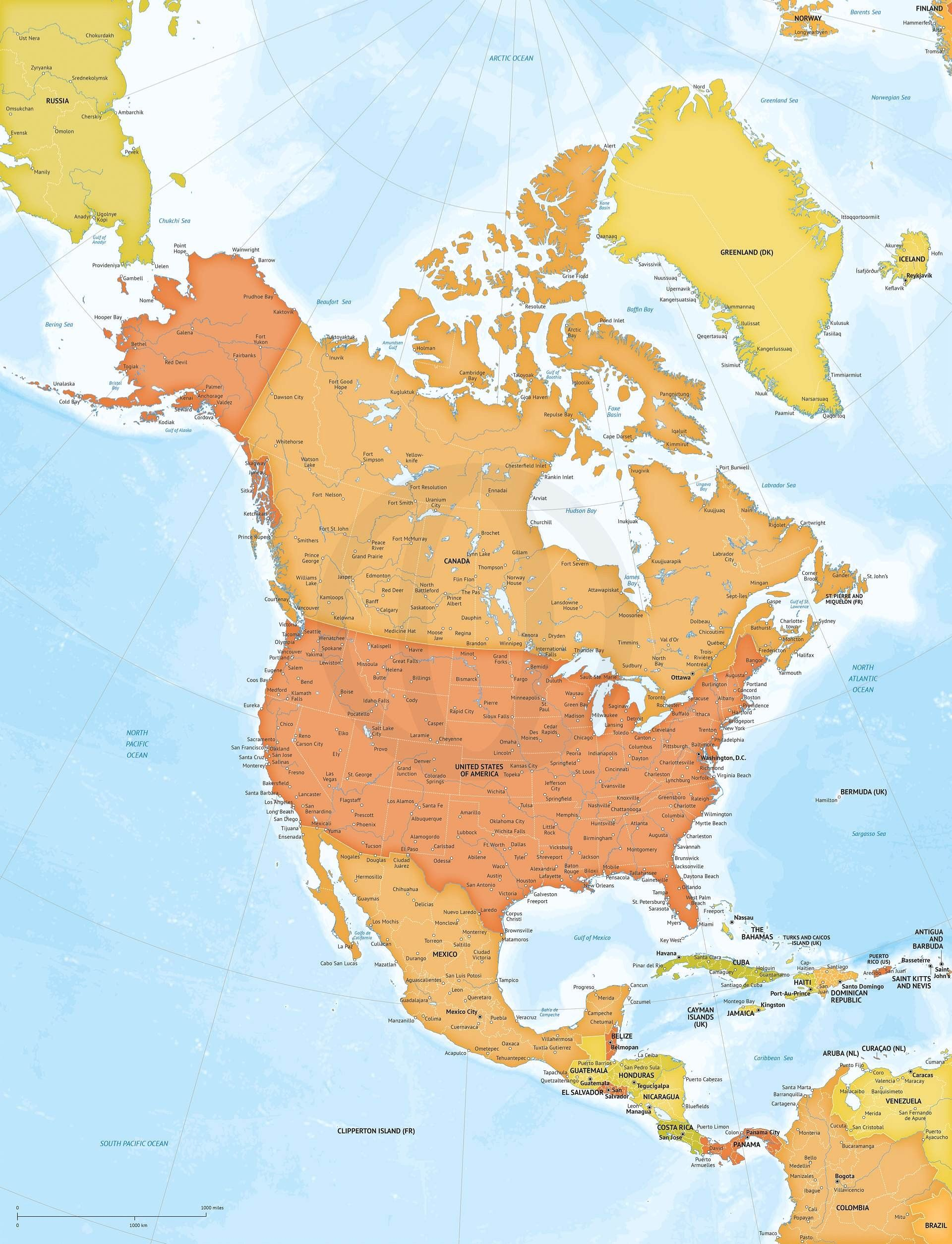 Vector Map Of North America Xl Size