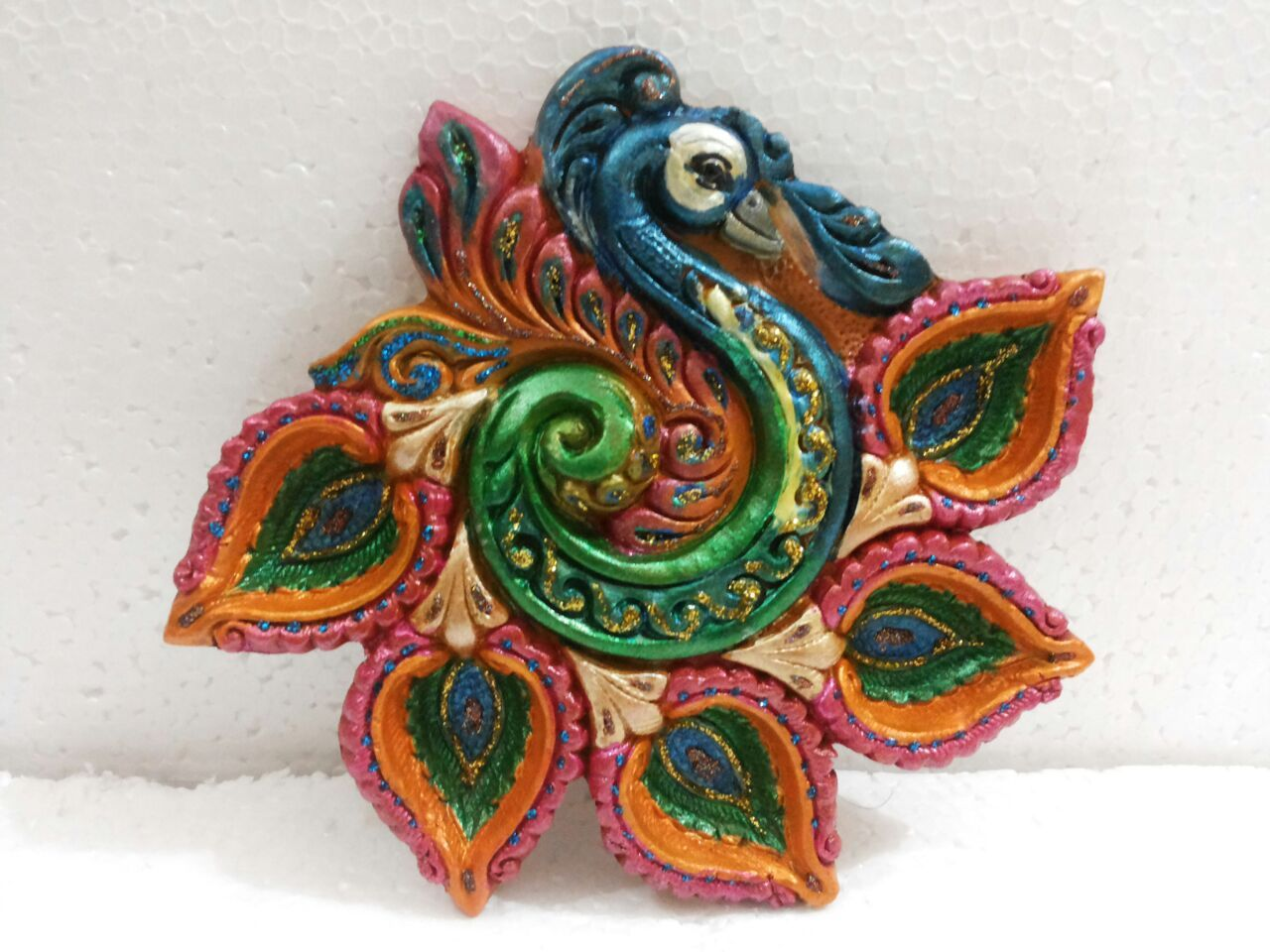 Single Handpainted Small Peacock Shaped Diya Enriched With Glitter Buy Online From Craftsho Diy Diwali Decorations Diwali Diya Decoration Diwali Decorations