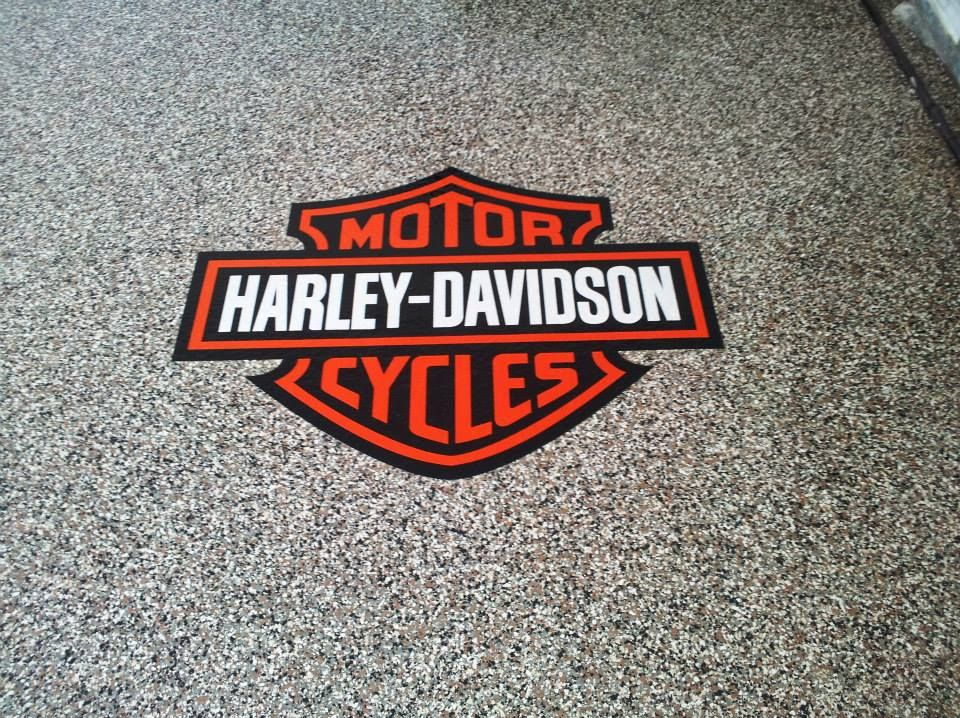 Pin By Decorative Concrete Kingdom On Knoxville Tennessee Epoxy Flooring Concrete Staining Decorative Concrete Garage Epoxy Harley Davidson Decor Epoxy Floor