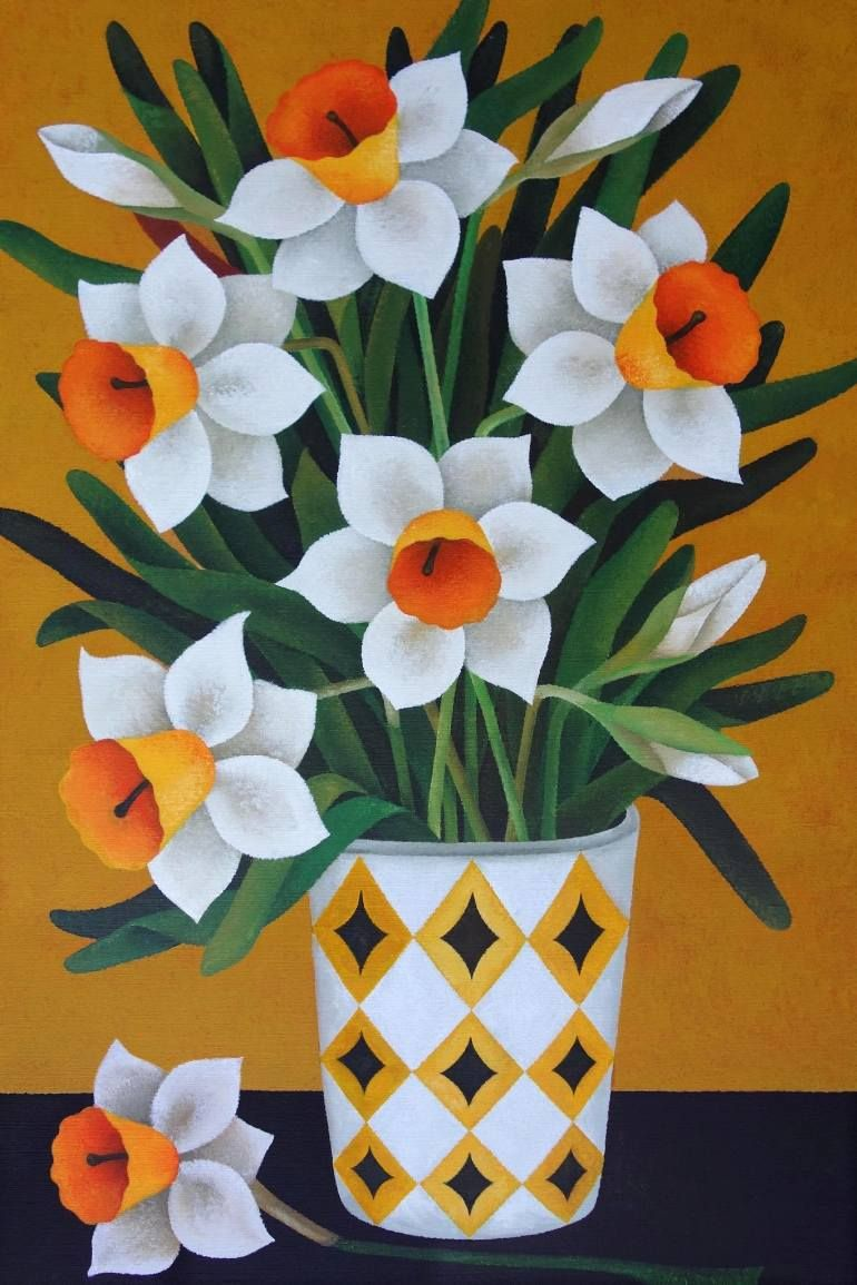 Yvonne Zomerdijk Saatchi Art Spring Flower Art Flower Art Folk Art Flowers