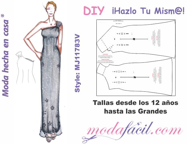 Moldes de vestido de fiesta con hombro descubierto mj1183v ...