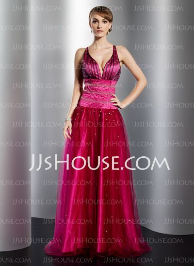Prom Dresses - $142.99 - A-Line/Princess V-neck Floor-Length Satin Tulle Prom Dresses With Beading (018014778) http://jjshouse.com/A-line-Princess-V-neck-Floor-length-Satin-Tulle-Prom-Dresses-With-Beading-018014778-g14778