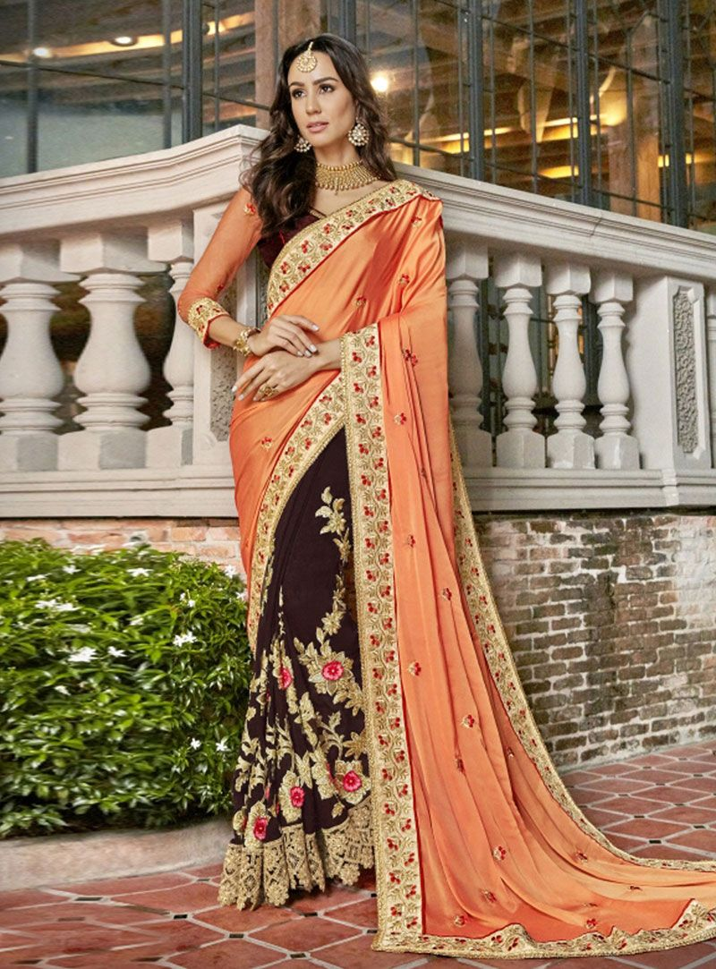 Peach georgette half and half saree a indian beauty in