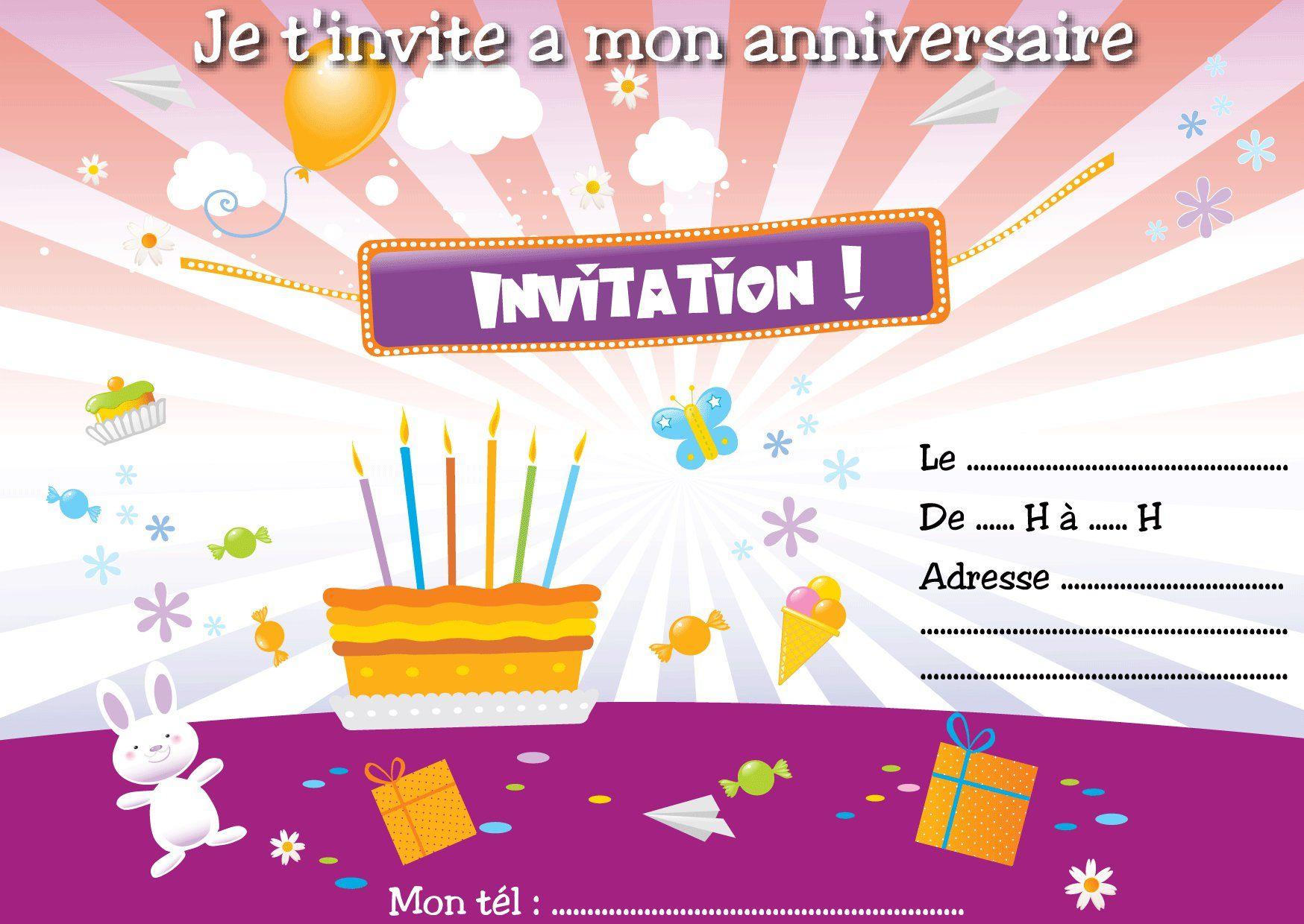 Modele Carte Anniversaire 60 Ans Gratuite intérieur carte invitation anniversaire imprimer : cartes invitation
