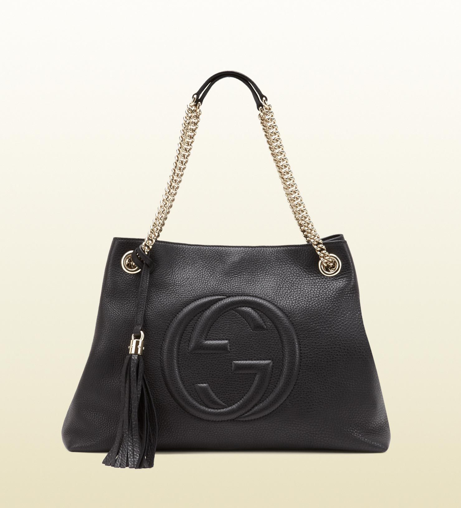 dd1643ea GUCCI soho medium black leather tote with chain straps Embossed ...